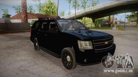 Chevrolet Tahoe LTZ 2013 Unmarked Police pour GTA San Andreas vue arrière
