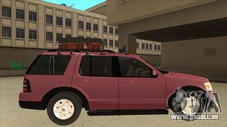Ford Explorer 2011 pour GTA San Andreas sur la vue arrière gauche