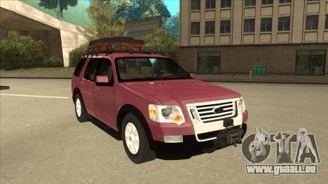Ford Explorer 2011 pour GTA San Andreas laissé vue