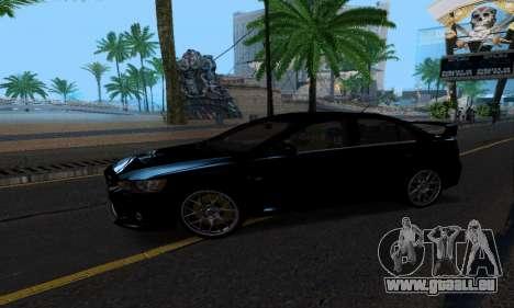 Mitsubishi Lancer Evo Drift Edition für GTA San Andreas zurück linke Ansicht