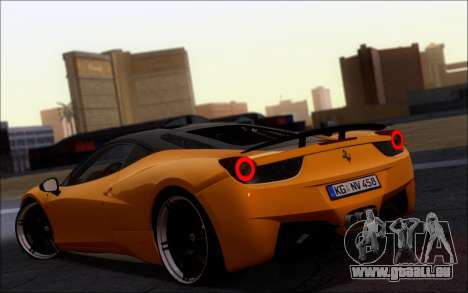 Ferrari 458 Italia Novitec Ross pour GTA San Andreas laissé vue