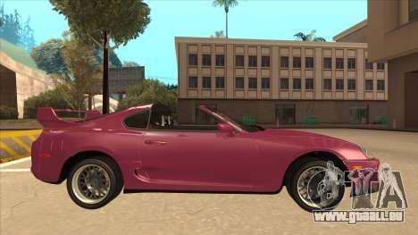 Toyota Supra MKIV für GTA San Andreas zurück linke Ansicht