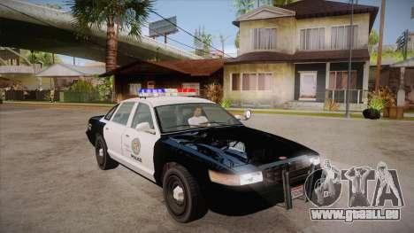 Vapid GTA V Police Car pour GTA San Andreas vue arrière