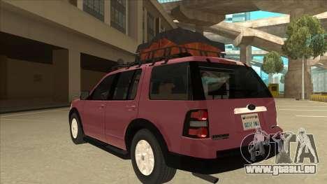 Ford Explorer 2011 für GTA San Andreas Rückansicht
