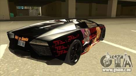 Lamborghini RR Kyoukai No Kanata Itasha pour GTA San Andreas vue de droite