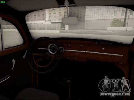 Volkswagen Beetle pour GTA San Andreas vue de dessus