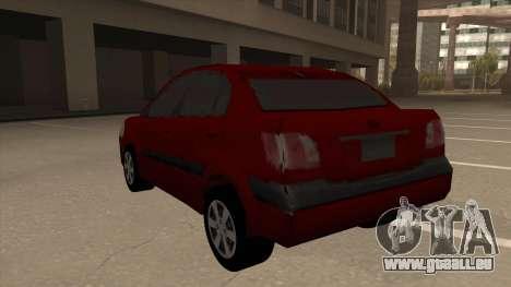 KIA RIO II pour GTA San Andreas vue arrière