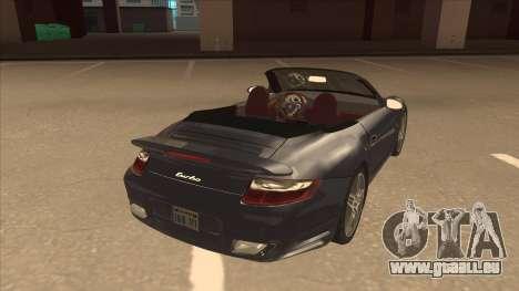 Porsche 911 Turbo Cabriolet 2008 für GTA San Andreas rechten Ansicht