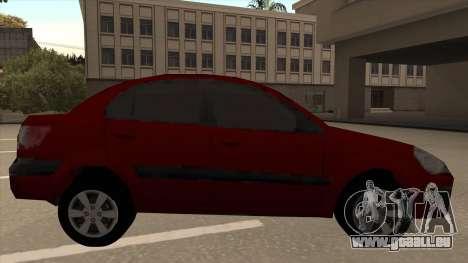 KIA RIO II pour GTA San Andreas sur la vue arrière gauche