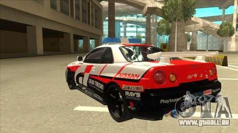 Nissan Skyline BNR34 GT4 Pace Car für GTA San Andreas Rückansicht