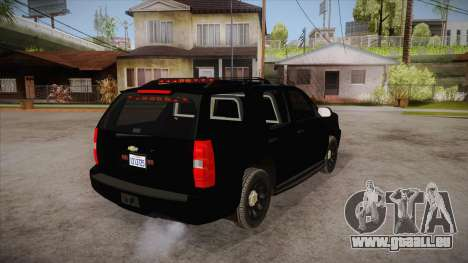 Chevrolet Tahoe LTZ 2013 Unmarked Police pour GTA San Andreas vue de droite