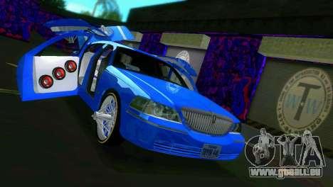 Lincoln Town Car Tuning pour une vue GTA Vice City de l'intérieur