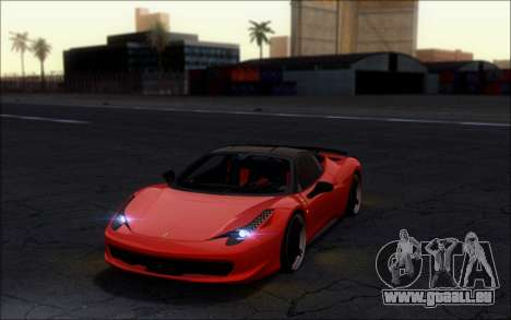 Ferrari 458 Italia Novitec Ross pour GTA San Andreas sur la vue arrière gauche