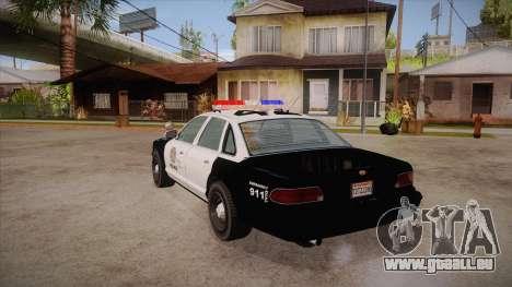 Vapid GTA V Police Car pour GTA San Andreas sur la vue arrière gauche