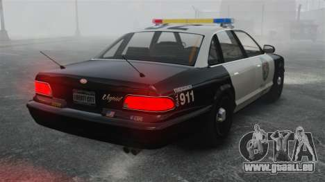 Une voiture de Police GTA V pour GTA 4 Vue arrière de la gauche