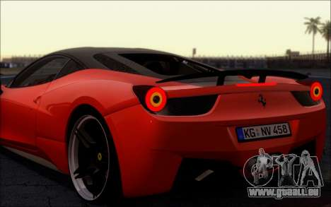 Ferrari 458 Italia Novitec Ross pour GTA San Andreas vue de droite