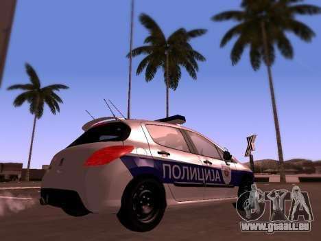 Peugeot 308 SERBIAN PATROL pour GTA San Andreas sur la vue arrière gauche