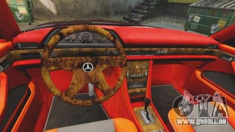 Mercedes-Benz C126 500SEC pour GTA 4 est une vue de l'intérieur