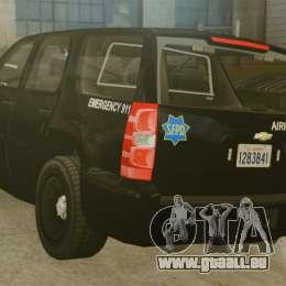 Chevrolet Tahoe 2010 PPV SFPD v1.4 [ELS] pour GTA 4 Vue arrière de la gauche