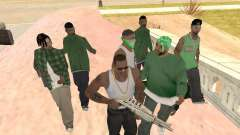 Drei Jungs in einer Groove-Street-Bande