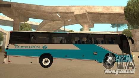 Zaibee Daewoo Express Coach pour GTA San Andreas sur la vue arrière gauche