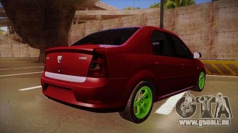 Dacia Logan Hellaflush für GTA San Andreas Rückansicht