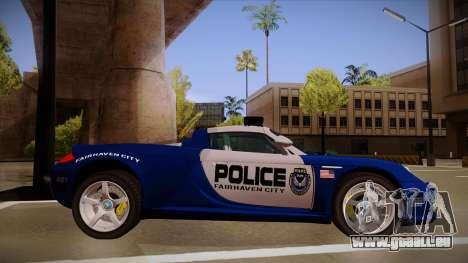 Porsche Carrera GT 2004 Police Blue für GTA San Andreas zurück linke Ansicht