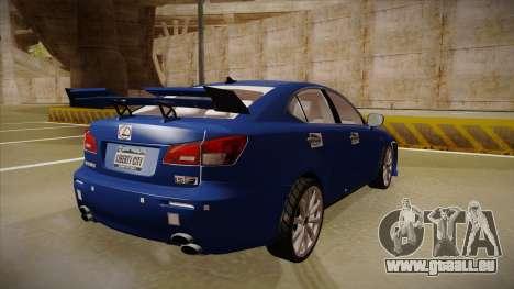 Lexus IS F V1 pour GTA San Andreas vue de droite