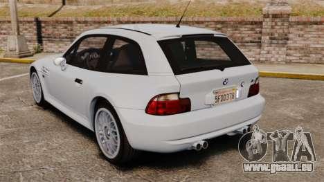 BMW Z3 Coupe 2002 pour GTA 4 Vue arrière de la gauche