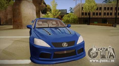 Lexus IS F V1 pour GTA San Andreas laissé vue