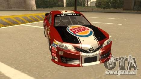 Toyota Camry NASCAR No. 83 Burger King Dr Pepper pour GTA San Andreas laissé vue