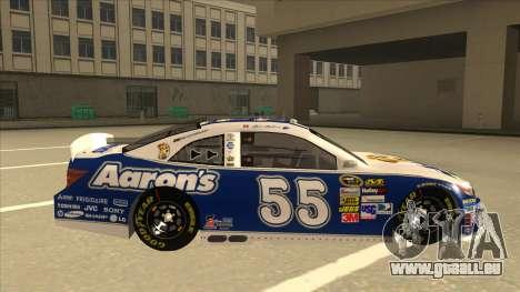 Toyota Camry NASCAR No. 55 Aarons DM blue-white pour GTA San Andreas sur la vue arrière gauche