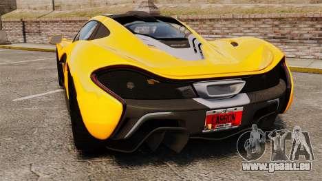 McLaren P1 2013 pour GTA 4 Vue arrière de la gauche