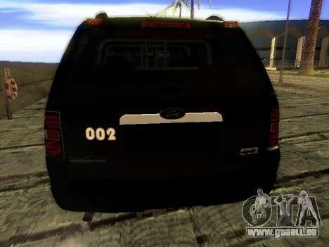 Ford Explorer 2010 Police Interceptor pour GTA San Andreas sur la vue arrière gauche