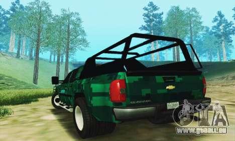 Chevrolet Silverado 3500 Military für GTA San Andreas zurück linke Ansicht