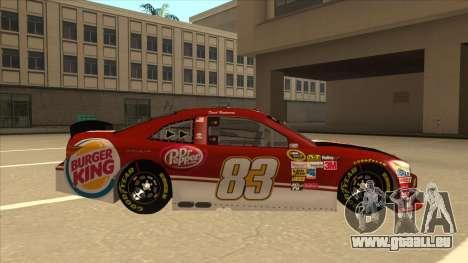 Toyota Camry NASCAR No. 83 Burger King Dr Pepper für GTA San Andreas zurück linke Ansicht