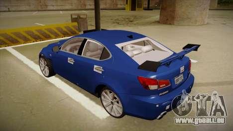Lexus IS F V1 pour GTA San Andreas vue arrière
