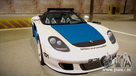 Porsche Carrera GT 2004 Police White pour GTA San Andreas laissé vue