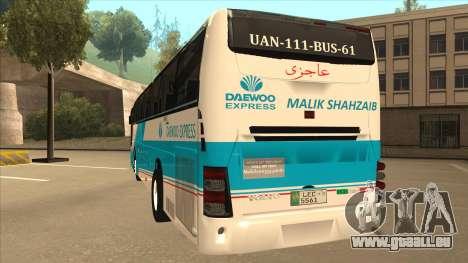 Zaibee Daewoo Express Coach pour GTA San Andreas vue arrière