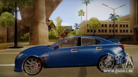 Lexus IS F V1 pour GTA San Andreas sur la vue arrière gauche