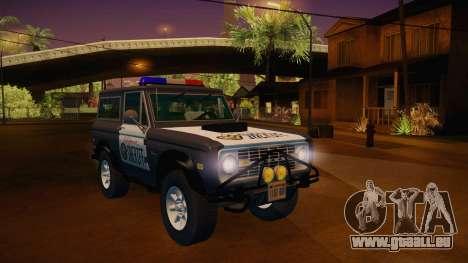 Ford Bronco 1966 Sheriff pour GTA San Andreas vue de droite
