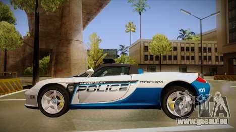 Porsche Carrera GT 2004 Police White für GTA San Andreas zurück linke Ansicht
