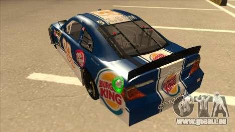 Toyota Camry NASCAR No. 93 Burger King Dr Pepper pour GTA San Andreas vue arrière