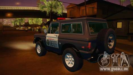 Ford Bronco 1966 Sheriff pour GTA San Andreas sur la vue arrière gauche