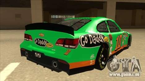 Chevrolet SS NASCAR No. 10 Go Daddy für GTA San Andreas rechten Ansicht