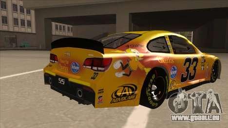 Chevrolet SS NASCAR No. 33 Cheerios pour GTA San Andreas vue de droite