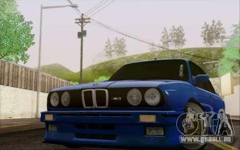 BMW M3 E30 Stance pour GTA San Andreas sur la vue arrière gauche