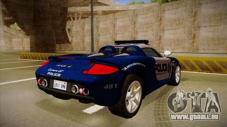 Porsche Carrera GT 2004 Police Blue pour GTA San Andreas vue de droite