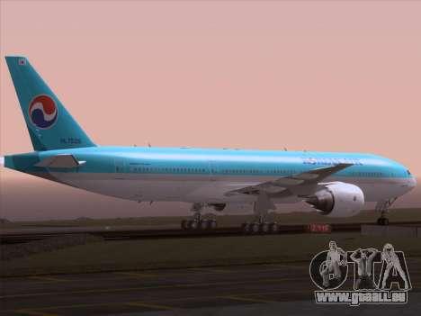 Boeing 777-2B5ER Korean Air für GTA San Andreas obere Ansicht
