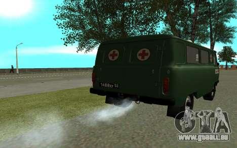 UAZ 452 ambulance pour GTA San Andreas sur la vue arrière gauche
